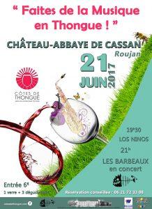 """""""Faîtes de la Musique en Thongue !"""" le 21 juin à partir de 19h30 au Château-Abbaye de Cassan"""
